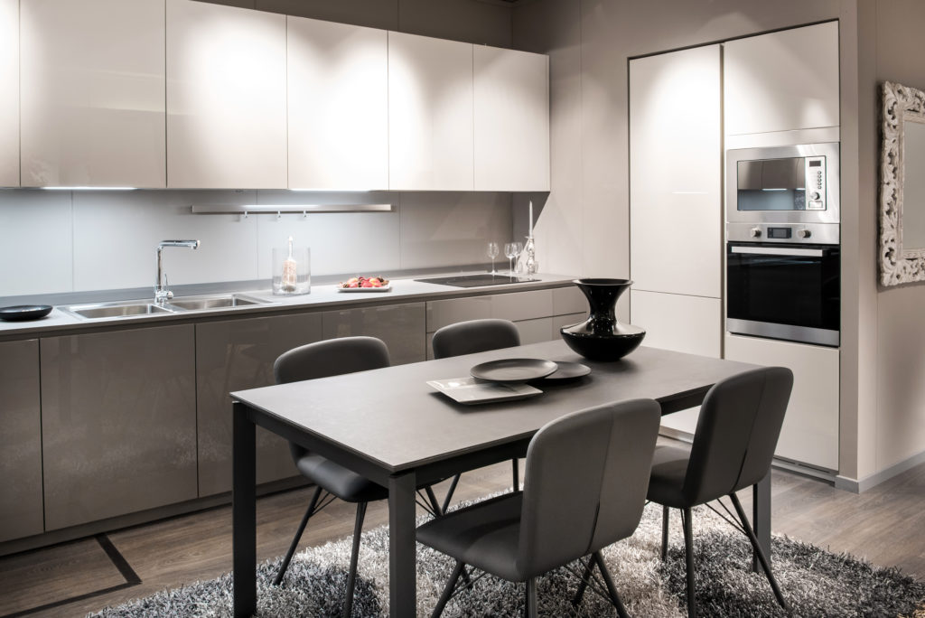 Monochrome grey and white kitchen interior