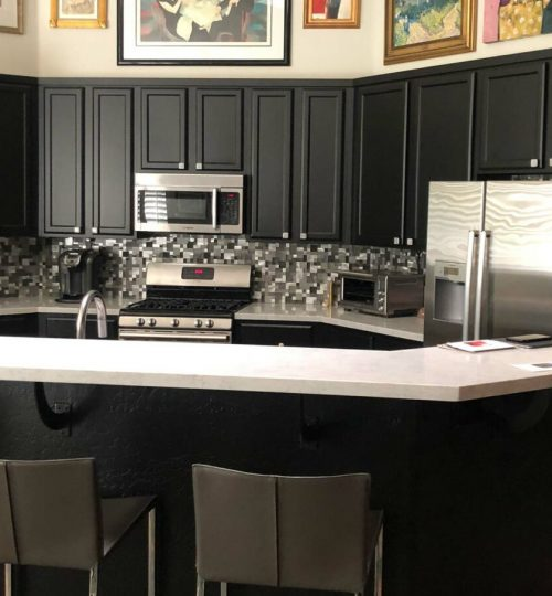 black refinished kitchen cabinets